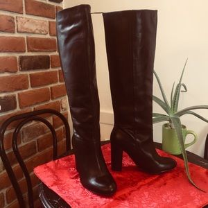 Joe Fresh Stovepipe Black Leather Heeled Boot